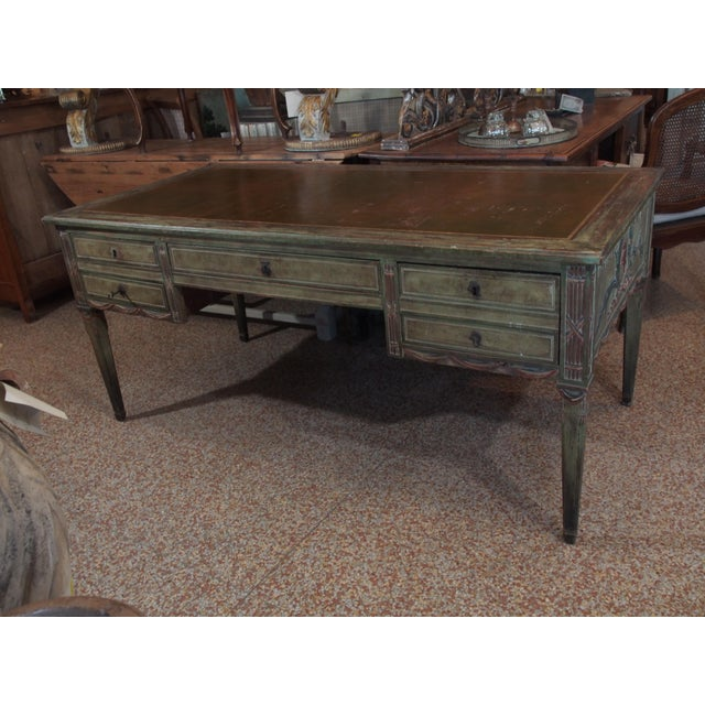 "A rectangular Directoire style bureau plat in a painted finish celebrating the ""French Revolution"". All details (helmets,..."