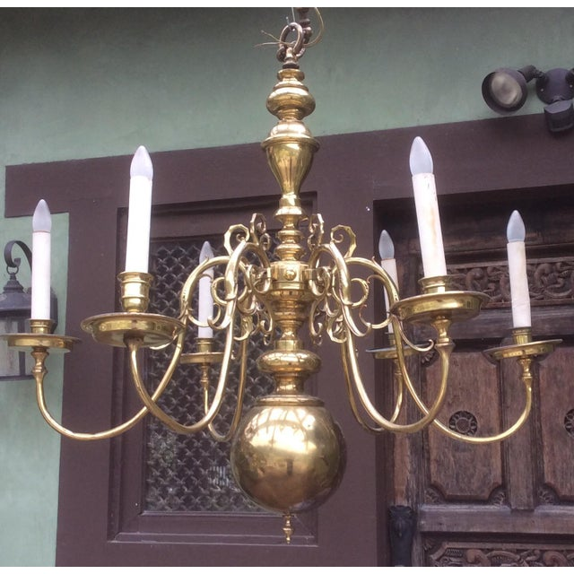 Large Dutch Style Brass Chandelier For Sale - Image 11 of 11