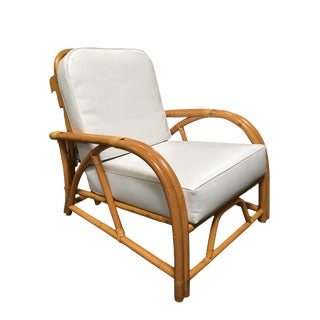 Rare Restored 1949er Rattan Reclining Lounge Chair With Arched Arms For Sale