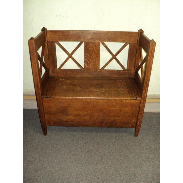Antique Arts & Crafts Mission Oak Hall Storage Bench For Sale - Image 9 of 9