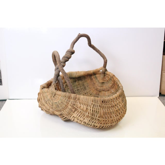 Early 20th Century Antique Folk Woven Basket For Sale - Image 4 of 4