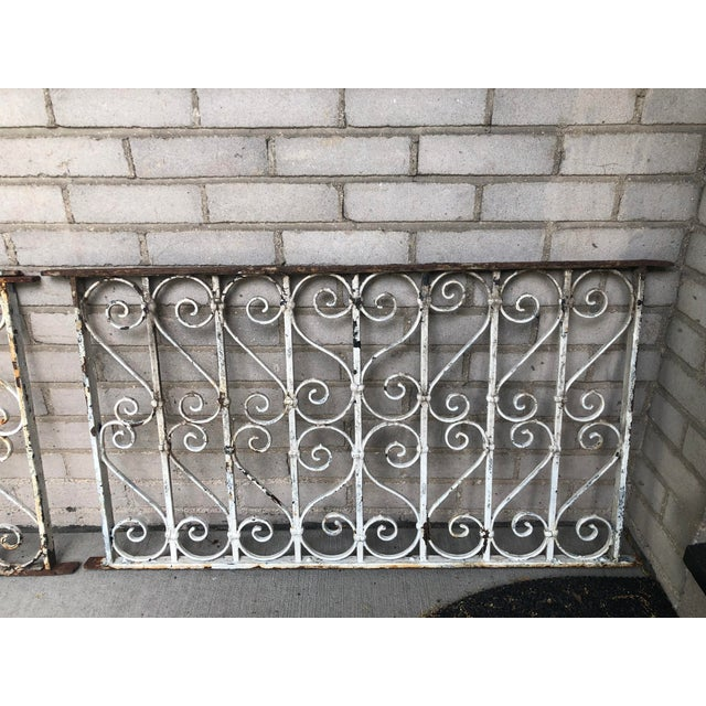 19th Century Victorian Wrought Iron Balustrade Sections - a Pair For Sale - Image 4 of 13