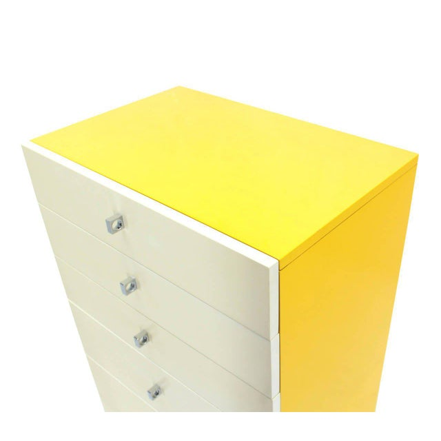 Seven Drawer Tall Yellow and White Lacquer Floating Lingerie Chest For Sale - Image 4 of 7