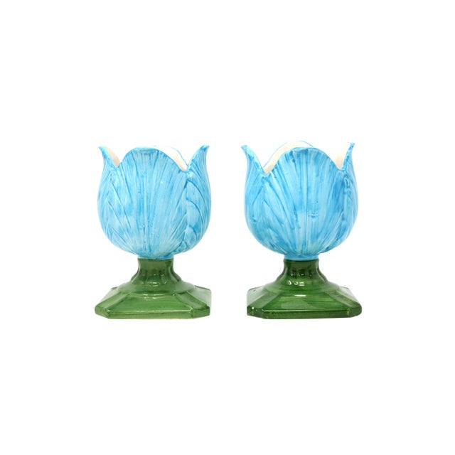 Ceramic Blue Tulip Planters - a Pair - Image 1 of 10
