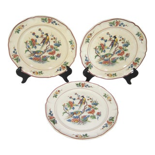 Early 20th Century French Bird of Paradise Faience Plates - Set of 3 For Sale