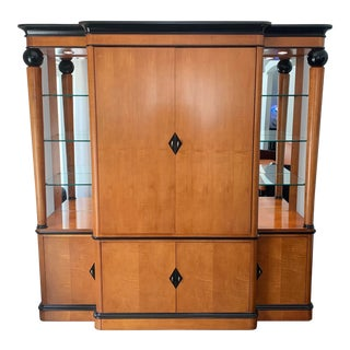 Large Hooker Art Deco Style Furniture Burlwood Entertainment Tv Unit With Curio Display Cabinets For Sale