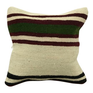 Vintage Ethnic Turkish Handmade White Decorative Kilim Pillow Cover For Sale