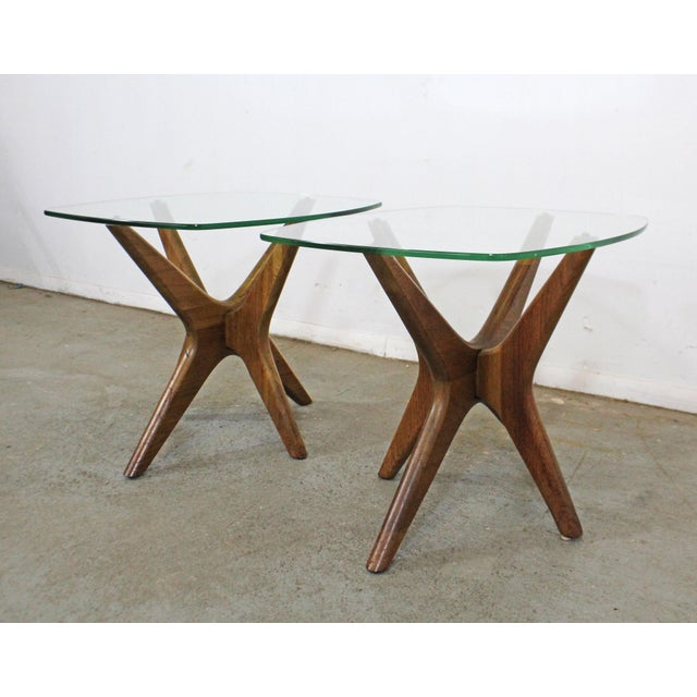 Mid 20th Century Pair of Mid-Century Danish Modern Adrian Pearsall 'Jacks' Glass Top End Tables For Sale - Image 5 of 13