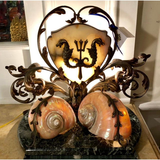 Rare Antique Bronze Marble & Nautilus Shell Centerpiece Lamp For Sale - Image 4 of 8