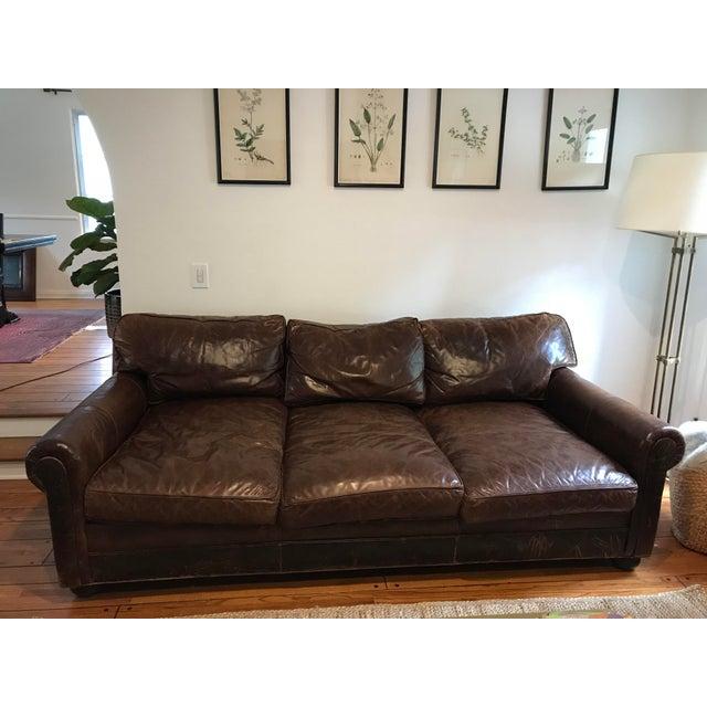 Modern Restoration Hardware Lancaster Leather Sofa | Chairish