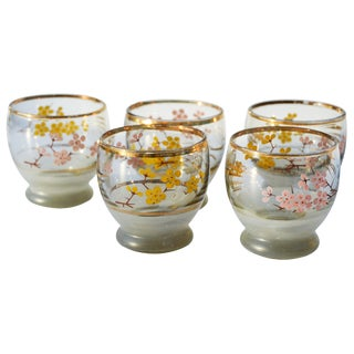 Pink & Orange Floral Motif Glasses, S/5 For Sale