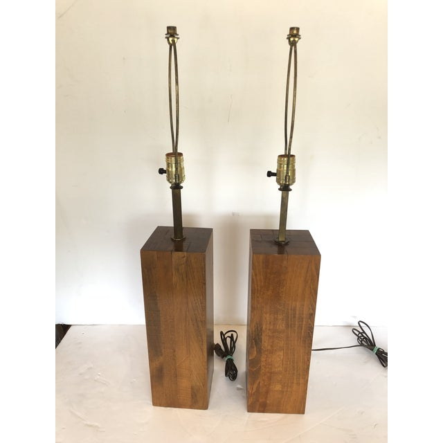Walnut Block Form Mid-Century Modern Table Lamps -A Pair For Sale - Image 11 of 11