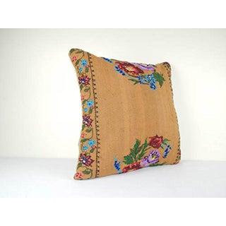 Vintage Handwoven Floral Pattern Kilim Pillow, Square Wool Kilim Pillow Aubusson Woven Kilim Rug Pillow Cover 24'' X 24'' (60 X 60 Cm) Preview