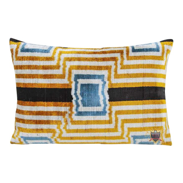 Silk Velvet/Silk Atlas Double Sided Down Feather Lumbar Pillow For Sale