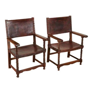 Spanish Colonial Style Saddle Leather Armchairs - a Pair For Sale