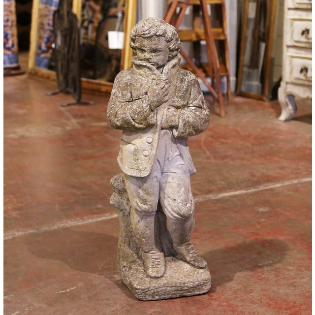 Stone 19th Century French Outdoor Carved Weathered Stone Young Man Statue For Sale - Image 7 of 7