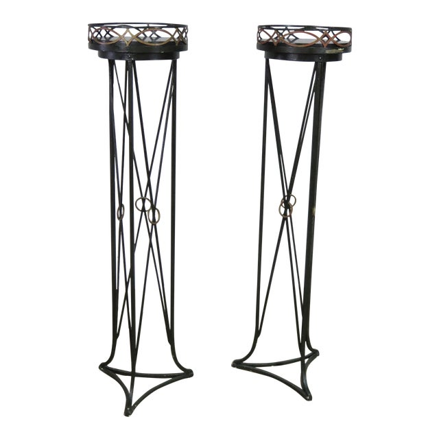 Pair of Hollywood Regency Style Plant Stands For Sale