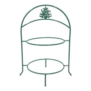 Vintage Two Tier Christmas Tree Dessert Stand