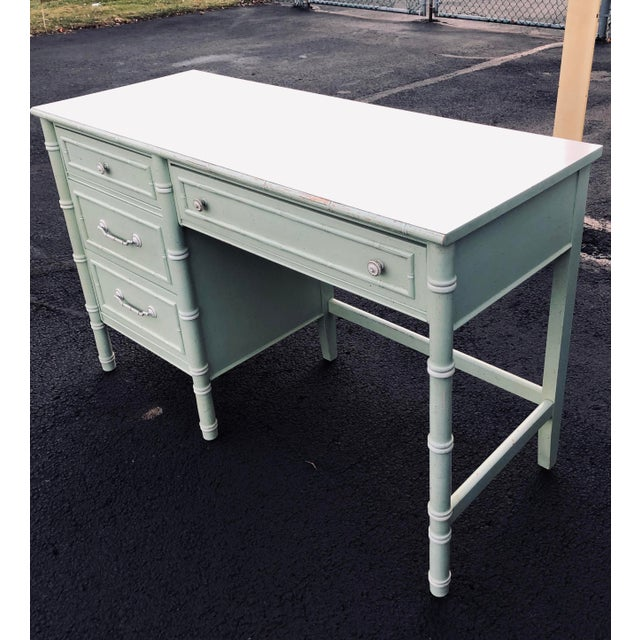 1970s Thomasville Faux Bamboo Writing Desk For Sale - Image 5 of 9