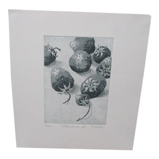 Vintage Lithograph Titled Strawberries II Signed by M. Hegler For Sale