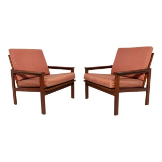 C. 1960s Illum Wikkelso Danish Teak Lounge Chairs for Niels Eilersen - a Pair For Sale