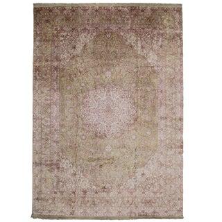Vintage Hereke Style Silk Area Rug - 9′10″ × 13′10″ For Sale