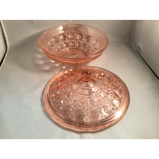 Glass Vintage Peach Glass Dish For Sale - Image 7 of 10
