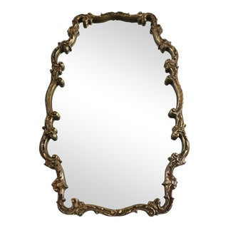Large Mid Century Gold Gilted Plaster and Wood Mirror For Sale