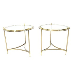 Pair of Round Side End Tables with Glass Tops by DIA For Sale