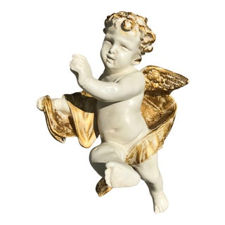 Vintage Cherub Bust Wall-Hanging For Sale