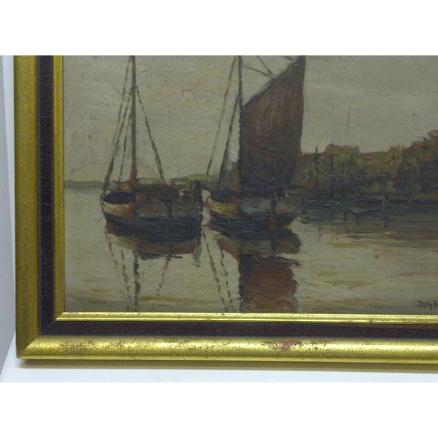 """Docked Boats"" Framed Painting on Board - Image 4 of 7"