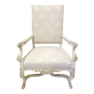 19th Century French Carved Painted Armchairs With Fleur De Lys Fabric - A Pair For Sale