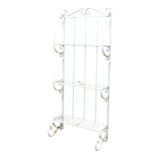 Vintage 1960s White Metal Scroll Baker's / Garden Rack For Sale
