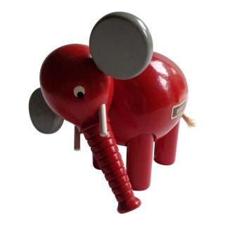 1970s Vintage Swedish Brio Wooden Pull-Apart Elephant Toy For Sale