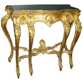 Italian Baroque Style Carved Giltwood Console, 19th Century For Sale