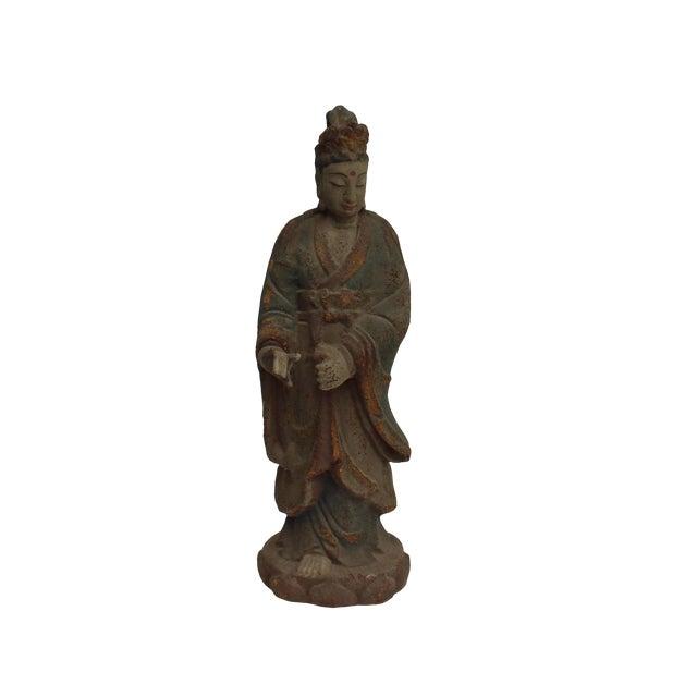 Chinese Rustic Distressed Finish Wood Kwan Yin Bodhisattva Statue For Sale