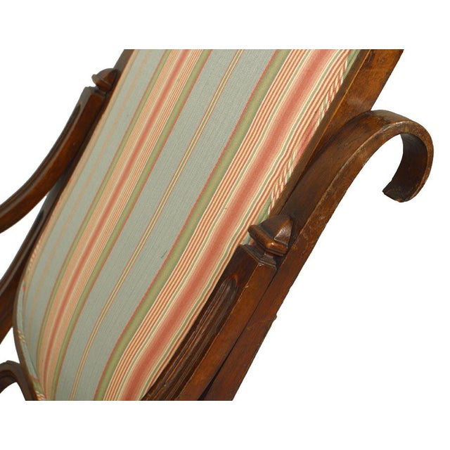 Thonet Style Bentwood Striped Rocking Chair For Sale - Image 4 of 5