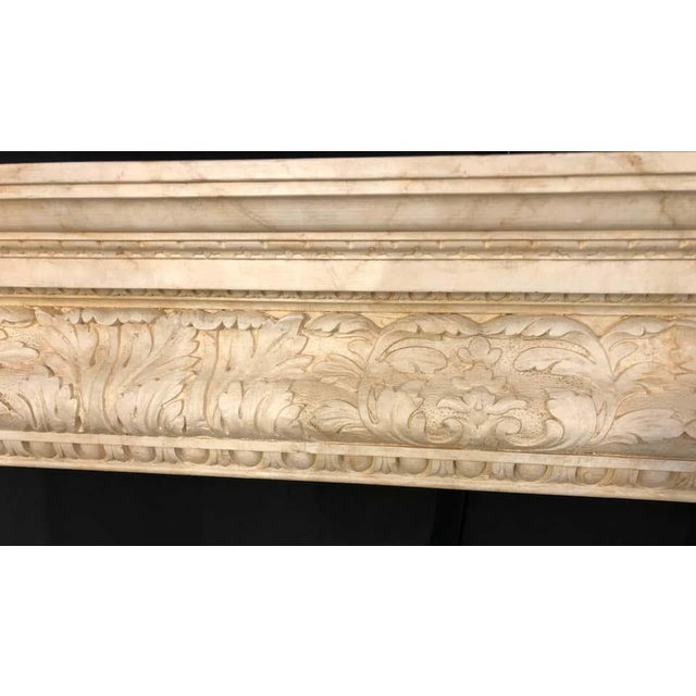 Swedish Painted and Distressed Decorated Fire Surround in Faux Marble Finish For Sale - Image 11 of 13