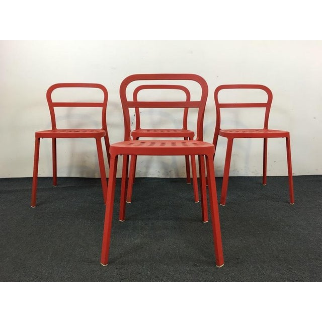 Set of 4 Contemporary Painted Red Metal Side Chairs - Image 2 of 7