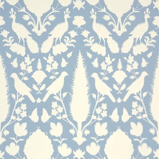 Sample - Schumacher Chenonceau Damask Wallpaper in Sky Blue For Sale