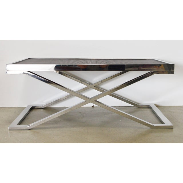 Stainless steel coffee table with dark brown leather with pressed braided effect designed by Fabio Bergomi / Made in Italy...