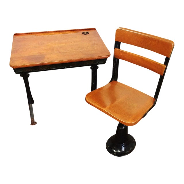 Antique American Seating Cast Iron Student School Desk & Chair For Sale