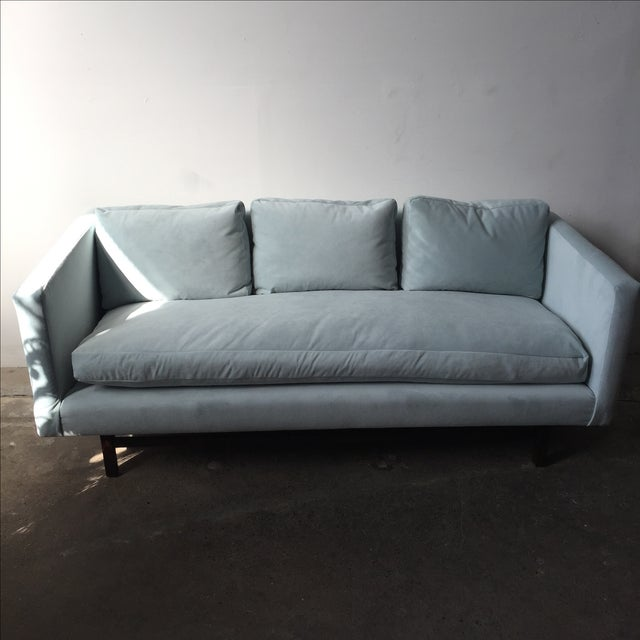 Mid-Century Rosewood Sofa in Mint Microsuede - Image 6 of 10