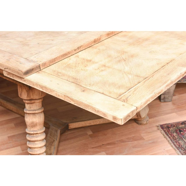 Shabby Chic Bleached Oak Dining Room Table For Sale - Image 3 of 3