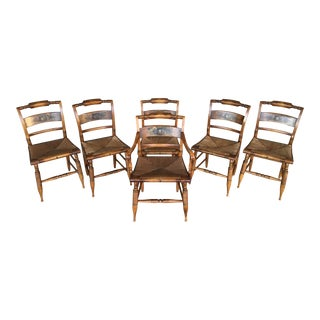 L. Hitchcock Harvest Slat Back Rush Bottom Dining Chairs - Set of 6 For Sale