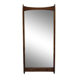 Mid-Century Modern Danish Wood Full Length Wall Mirror For Sale