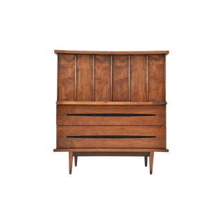 Mid-Century Gentleman's Curved Front Chest/Highboy Dresser For Sale
