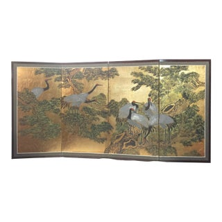 Antique Asian Hand Painted Screen With Cranes For Sale