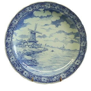Plate, Boch Royal Sphinx Signed Chattel Blue Delft For Sale