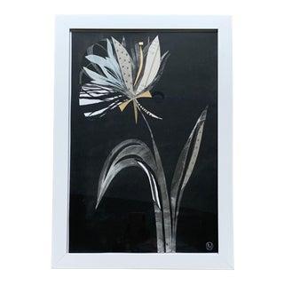 Framed Botanical Mixed Media Collage For Sale